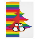 Gay Pride Christmas Tree With Penguin Couple Card