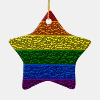 Gay Pride Chrome Flag Ceramic Ornament