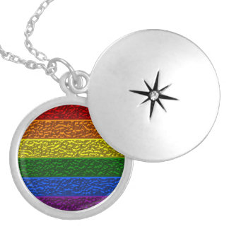 Gay Pride Chrome Flag Locket Necklace