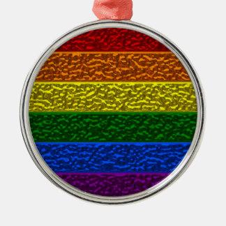 Gay Pride Chrome Flag Metal Ornament