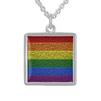 Gay Pride Chrome Flag Square Silver Pendant