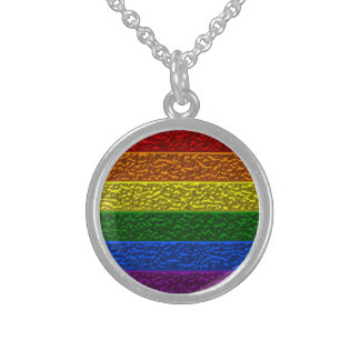 Gay Pride Chrome Flag Sterling Silver Necklace