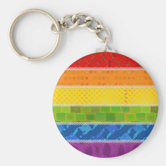 Gay Pride Colors Basic Round Button Keychain