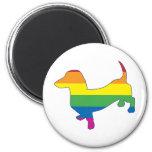 Gay Pride Dachshund/Wiener 2 Inch Round Magnet