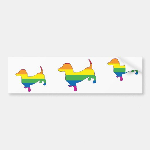 Gay Pride Dachshund/Wiener Bumper Stickers