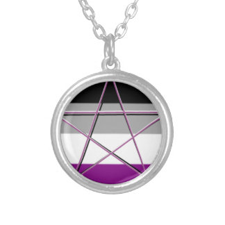 Gay Pride Demi Pan Goddess Symbol Silver Plated Necklace