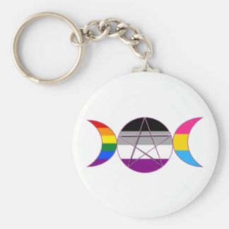 Gay Pride Demisexual Pansexual Goddess Pentacle Basic Round Button Keychain