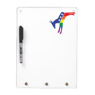 Gay Pride Democrat Donkey Dry Erase Board With Keychain Holder