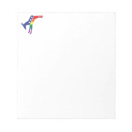 Gay Pride Democrat Donkey Memo Note Pad