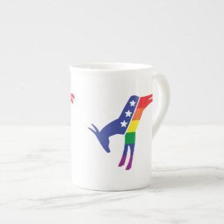 Gay Pride Democrat Donkey Porcelain Mugs