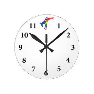 Gay Pride Democrat Donkey Round Wall Clock