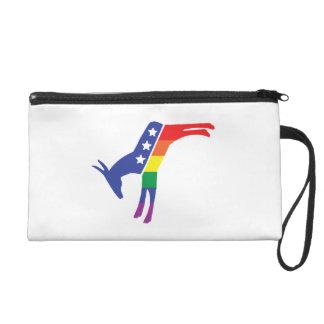 Gay Pride Democrat Donkey Wristlet Purse