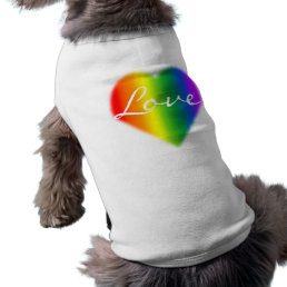 Gay Pride Dog Shirt Rainbow Love LGBT Dog T-shirt