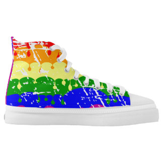 Gay Pride Dripping Paint Rainbow Pattern Printed Shoes