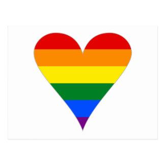 Gay Pride Flag Heart Funky - Grey Postcard