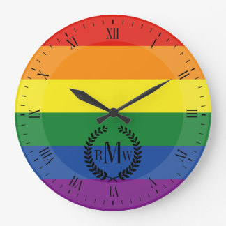 Gay pride Flag Large Clock