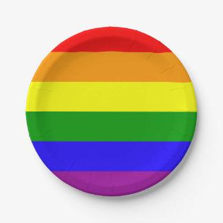Gay Pride Flag Paper Plate