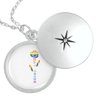 Gay Pride Flag Rose Sterling Silver Necklace