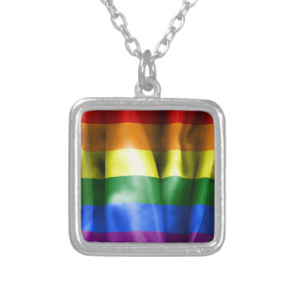 Gay Pride Flag Square Pendant Necklace