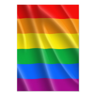 "GAY PRIDE FLAG WAVY DESIGN - 2014 PRIDE 5"" X 7"" INVITATION CARD"