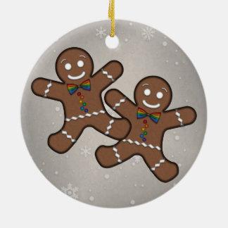 Gay Pride Gingerbread Couple Ceramic Ornament