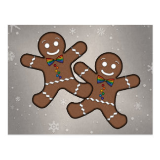 Gay Pride Gingerbread Couple Postcard