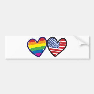 GAY-PRIDE-HEART-AND-FLAG PEGATINA PARA AUTO