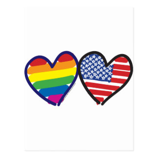 GAY-PRIDE-HEART-AND-FLAG TARJETA POSTAL