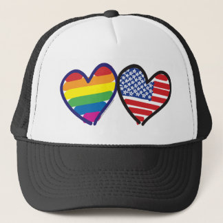 GAY-PRIDE-HEART-AND-FLAG TRUCKER HAT