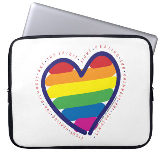 Gay Pride Heart and Words Laptop Sleeves