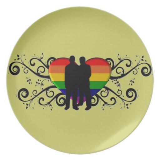 Gay Pride Heart for Men Plate