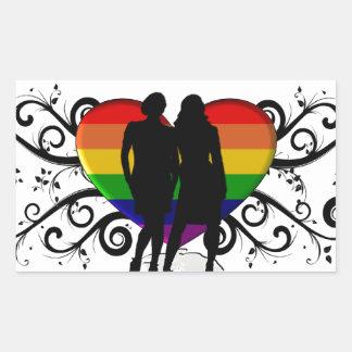 Gay Pride Heart for Women Rectangular Sticker