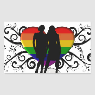 Gay Pride Heart for Women Rectangle Stickers