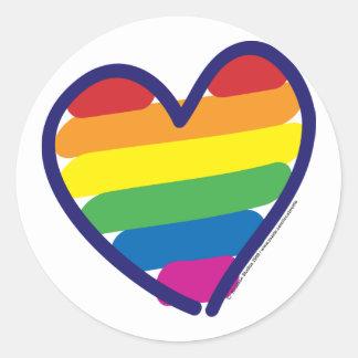 GAY-PRIDE-HEART-In-catneato Classic Round Sticker