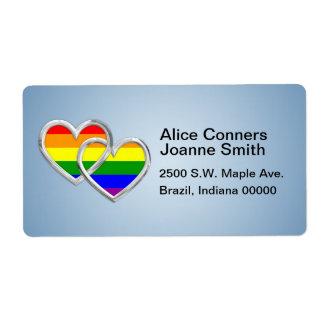 Gay Pride Hearts Label