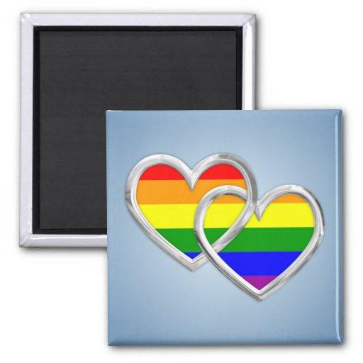 Gay Pride Hearts Magnets