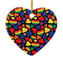 Gay Pride Hearts Pattern Ceramic Ornament