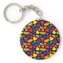 Gay Pride Hearts Pattern Keychain