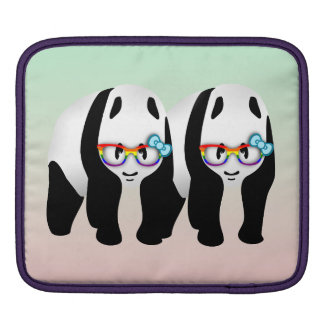 Gay Pride Hipster Pandas iPad Sleeve