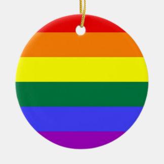 Gay Pride Horizontal Bar Rainbow Flag Double-Sided Ceramic Round Christmas Ornament