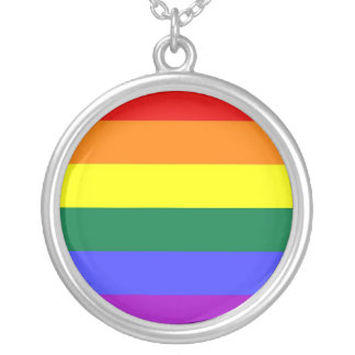 Gay Pride Horizontal Bar Rainbow Flag Silver Plated Necklace