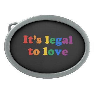 GAY PRIDE LEGAL LOVE - .png Oval Belt Buckle