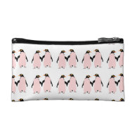 Gay Pride Lesbian Penguins Holding Hands Cosmetic Bags