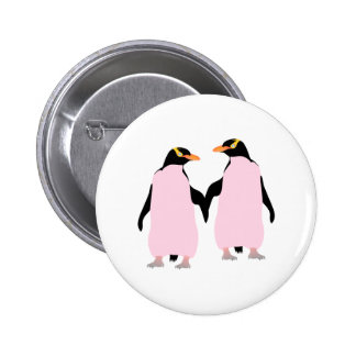 Gay Pride Lesbian Penguins Holding Hands Button