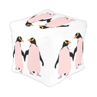 Gay Pride Lesbian Penguins Holding Hands Cube Pouf