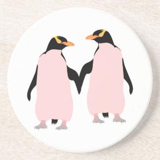 Gay Pride Lesbian Penguins Holding Hands Drink Coaster
