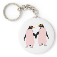 Gay Pride Lesbian Penguins Holding Hands Basic Round Button Keychain