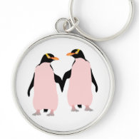 Gay Pride Lesbian Penguins Holding Hands Silver-Colored Round Keychain