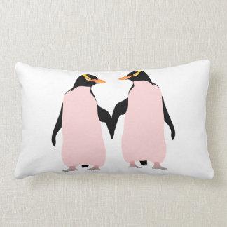 Gay Pride Lesbian Penguins Holding Hands Lumbar Pillow
