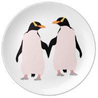 Gay Pride Lesbian Penguins Holding Hands Porcelain Plates